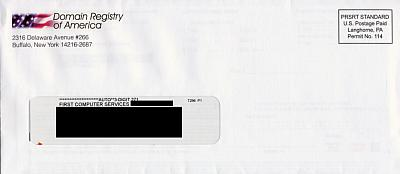 Mail from Domain Registry of America